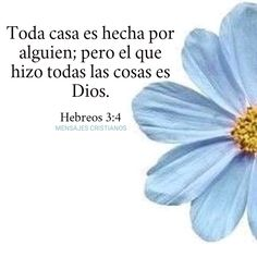 Hebreos 3:4 Bible Text, Christian Verses, Gods Love, Quotes, Inspiration, Oasis, Victoria, Hollywood, Style