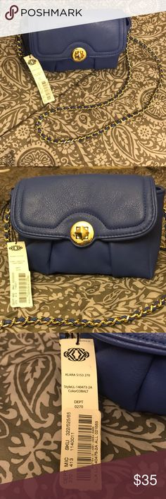 Kate Landry Klara Cross-Body Purse Cobalt blue cross body purse with gold chain - never been used, perfect condition!! Kate Landry Bags Crossbody Bags