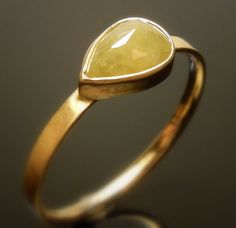 Yellow White Diamond 14K Gold Ring by ChincharMaloney on Etsy, $725.00