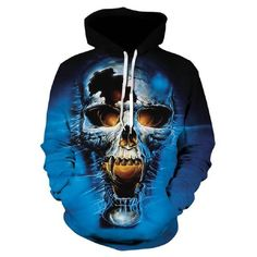 e88e31e53ba 2018 Spring 3D Hoodies Men Hooded Sweatshirts Melted Skull 3D  Printdresslliy Hoody