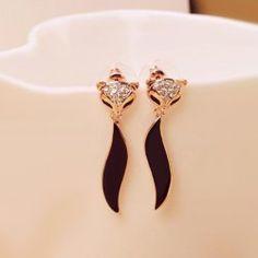 $3.03 Pair of Cute Rhinestone Embellished Fox Shape Earrings For Women