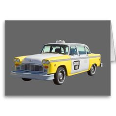 Yellow and white checkered Taxi Cab and American Flag poster prints and throw pillows. Custom Greeting Cards, Phone Covers, Taxi, Poster Prints, Art Prints, Antique Cars, Yellow, American Flag, Throw Pillows