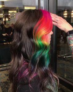 #pulpriothair #brazilianbondbuilder #hairvideos #rainbowhair #regram #hair #colour #color #hairdresser #unicornhair #rainbowhair #colourist #inspiration #creativity #colorist #rainbow #longhair #brighthair Hair Color Purple, Cool Hair Color, Green Hair, Blue Hair, Ombre Colour, Blonde Color, Ombre Blond, Brown Blonde Hair, Ombre Hair