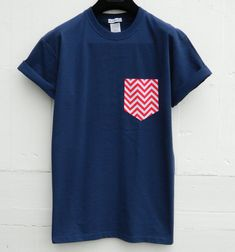 Men's Red and White Chevron Pattern Navy Pocket by HeartLabelTees