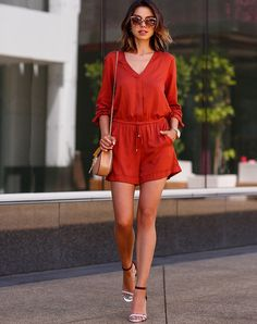 Stylish Lady Women's Fashion Casual Red Sexy Long Sleeve V-neck Elastic Waist Short Jumpsuit Romper_Dresses_Women_Women's Fashion Zone & Best Price Clothes