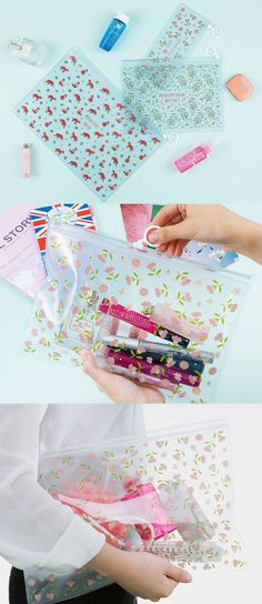 There's no better way to carry all your makeup, school supplies, and daily essentials! The Ardium Flat Bling Pouch is half transparent and half translucent with gorgeous patterns. The 3 sizes and various styles make this a super versatile pouch perfect for travel or everyday use!