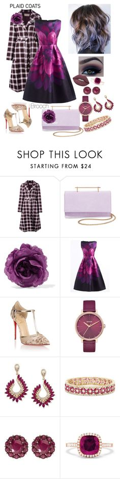 """""""Plaid Coat Brooch - Purple Tone"""" by allyssister ❤ liked on Polyvore featuring Christopher Kane, M2Malletier, Gucci, Christian Louboutin, Nixon, Effy Jewelry, Color My Life and Lime Crime"""
