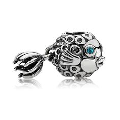 Pandora Splish-Splash Fish with Blue Topaz Dangle -  This adorable fish charm is a serious favorite with Pandora fans! The Pandora Splish-Splash charm is Sterling Silver with a deep blue Topaz eye. Check out how his little tail dangles!