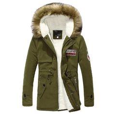 2016 new arrival men's thick warm winter down coat fur collar army green men parka big yards long cotton coat jacket parka men