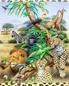 Safari Pride Leopard Zebras Giraffe T-Shirt Plus Size & Super Size Jungle Art, Jungle Animals, Cute Animals, Jungle Safari, Forest And Wildlife, Wildlife Art, Zebras, Beautiful Creatures, Animals Beautiful