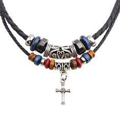 Christian Double Root Beaded Cross Necklace $11.90 Item Type: Necklaces Fine or Fashion: Fashion Pendant Size: Chokers Necklaces Style: Trendy Necklace Type: Chokers Necklaces Gender: Unisex Material: