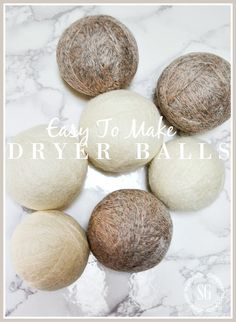 EASY TO MAKE DRYER BALLS- Make easy dryer balls that will help you save electricity, reduces static cling and wrinkles and more!