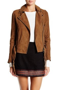 Muubaa Warren Genuine Suede Belted Biker Jacket