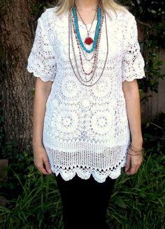 Vintage 70s lace crochet white cutout mini Dress  by VtgReruns