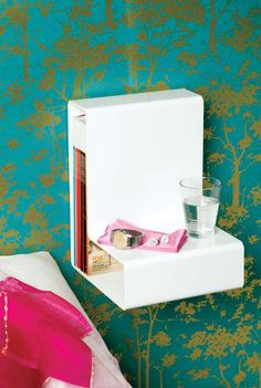 Bedroom, L Shaped Bedside Table: The Innovative And Cool Bedside Table Design