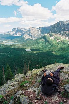"Our kind of travel, taking it slow to enjoy the moment. Another pinner said: ""Glacier National Park, Hiking to the top to read a good book."""
