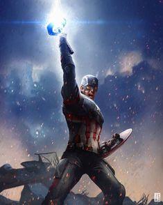 Captain America, Avengers: End Game by Jackson Caspersz Marvel Dc Comics, Marvel Avengers, Marvel Fanart, Marvel Heroes, Captain Marvel, Robert Evans, Chris Evans, Marvel Characters, Marvel Movies