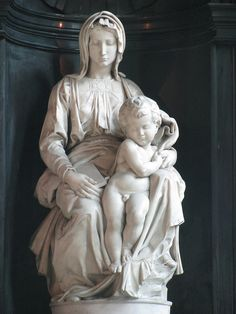 """Michelangelo's Madonna"" by Michelangelo di Lodovico Buonarroti Simoni (1475-1564), Italian sculptor, painter, architect, poet, and engineer of the High Renaissance."