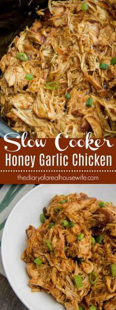 Slow Cooker Honey Garlic Chicken. So simple and easy. I love this over rice or even in a wrap.