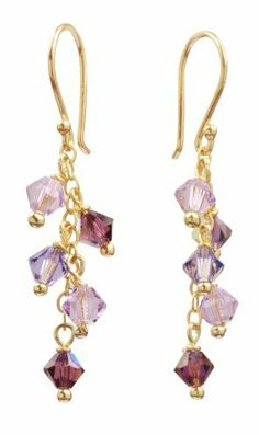 9cf873fb4 Gold Over Sterling Silver Ear Wire and Chain Earrings with Amethyst and  Crystallized Swarovski Elements Purple Multi-Drops Amazon Curated  Collection. $32.00
