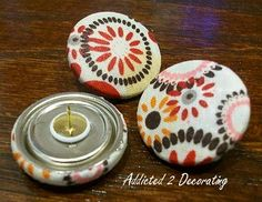 DIY fabric covered buttons, push-pins, ear rings, etc