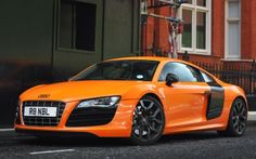 Audi only instance where I love orange and black. Ultimate dream car(in white please) Maserati, Bugatti, Ferrari, Audi R8 Car, Audi Tt, Koenigsegg, Pagani Zonda, Rolls Royce, Aston Martin