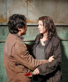 The Walking Dead Season 6 Episode 13 'The Same Boat' Maggie Greene and Glenn Rhee