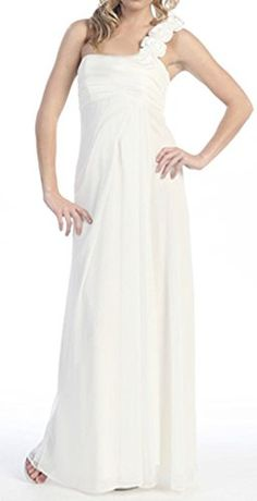 Belly Envy Women's Angelica Maternity Formal Bridesmaid Wedding Dress (Small, Ivory) Belly Envy