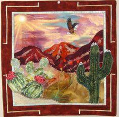 Majestic Mountain Majesty: Fabric Art Framed  wall hanging.