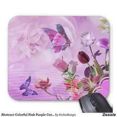 Abstract Colorful Pink Purple Cute Butterfly Mouse Pad