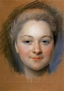 Study to portrait of unknown woman, mid 18th century by Maurice Quentin de La Tour