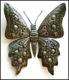 """Huge Handcrafted Butterfly Wall Decor - Haitian Metal Art Design -  34""""  What a remarkable piece to add to your patio wall decor. Hand cut from recycled 55 gallon steel drums in Haiti.  Butterfly wall hanging measures a huge 30"""" x 34"""""""
