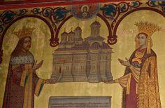 Tablou votiv cu Radu de la Afumaţi împreună cu soţia sa Doamna Ruxandra. Mănăstirea Curtea de Argeş.