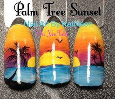 Palm tree sunset, summer nail art nail art & designs в 2019 Cruise Nails, Vacation Nails, Sunset Nails, Beach Nails, Palm Tree Sunset, Palm Trees, Sunset Beach, Palm Tree Nail Art, Nail Drawing
