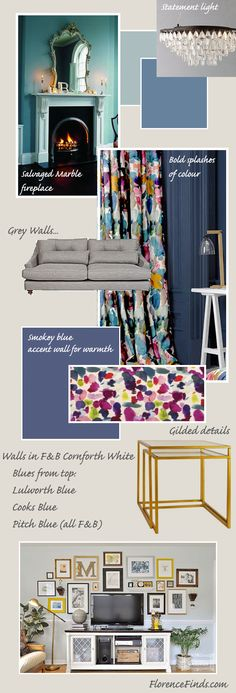 My plans for the living room // Renovation Ruminations: The Living Room //  Moody blue walls