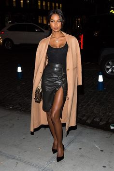Model Jasmine Tooks flaunted her stems upon arrival for the 2015 Victoria's Secret view party in NYC.