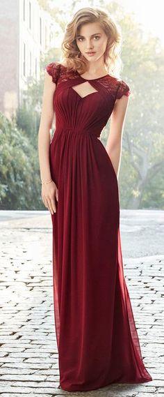 Wonderful Lace & Chiffon Scoop Neckline Cap Sleeves A-line Bridesmaid Dress