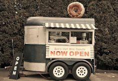Converted Horse Trailer for Food Camper. Coffee Carts, Coffee Truck, Mini Camper, Food Trucks, Converted Horse Trailer, Food Truck Design, Food Design, Foodtrucks Ideas, Catering Van