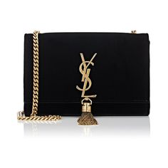 Saint Laurent Women's Monogram Kate Small Chain Bag (7.555 RON) ❤ liked on Polyvore featuring bags, handbags, shoulder bags, clutches, black, chain strap purse, shoulder strap bags, chain purse, velvet purse and shoulder hand bags