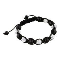 8mm Black Onyx and White Rhinestone Disco Ball Beads 13 Bead Shamballa Bracelet with Black String Avend Concepts. $54.99