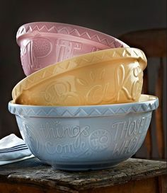 Mason Cash Bake My Day mixing bowl set, Bake Me Happy, Easy as Pie, All Good Things Come To Those Who Bake