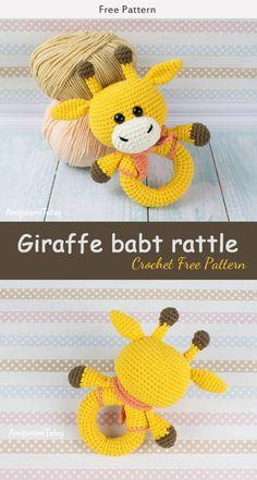 Giraffe Baby Rattle Crochet Free Pattern #crochet #toy #freepattern