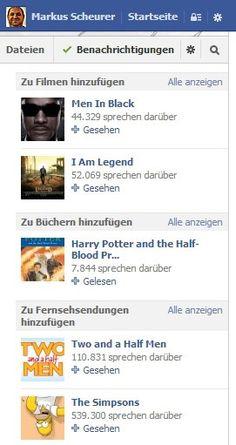 """Es gibt offenbar 'ne neue Funktion der """"Aktivitäten"""" auf Facebook. Behandelt Serien, Filme + Bücher. Ist bei mir grad rechts neben einem Gruppen-Beitrag aufgetaucht. Hab ich heute das erste mal gesehen. So sieht das aus."""