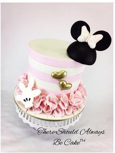 Minnie Mouse Birthday Theme, Mickey And Minnie Cake, Bolo Minnie, Mickey Cakes, Minnie Mouse Cake, Dummy Cake, Cake Design Inspiration, Buttercream Decorating, Friends Cake