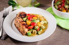 Grilled Cilantro Chicken with Indian Spiced Pickled Tomato Avocado Salsa