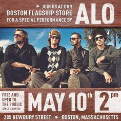 Join us for a little bit of funk, a little bit of pop, & lot of energy from ALO this Thurs., at The Life is good store, 283 Newbury St, Boston. These guys are great friends & one of our favorite bands! Music starts at 2:00 pm. FREE & Open to the public.