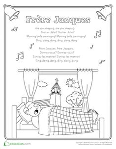 """Color in the pictures that go with the classic nursery rhyme """"Frere Jacques."""""""