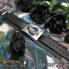 "Alchemy Gothic ULA1 Ace Of Dead Spades  A large pewter and black-enamelled 'Ace of Spades' card, with raised sculpted Death's Head, on a Itallian made, 1 ½"" black leather wrist cuff."
