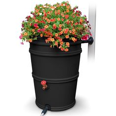 EarthMinded RainStation 45 Gal. Recycled Black Rain Barrel with Diverter-RS45-RC - The Home Depot