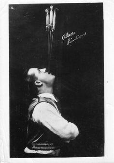 Sword Swallower Alex Linton, 1930s. Photo used by permission of Sword Swallowers Association International (SSAI) Sword Swallower's Hall of Fame http://www.swordswallow.com